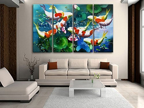 Extra Large Feng Shui Painting Contemporary On Canvas Art Home Decor Living  Room, Oversized Koi