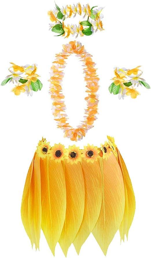 Amosfun – 1 Juego de Disfraz Hawaiano Falda de Hoja de Hierba con ...