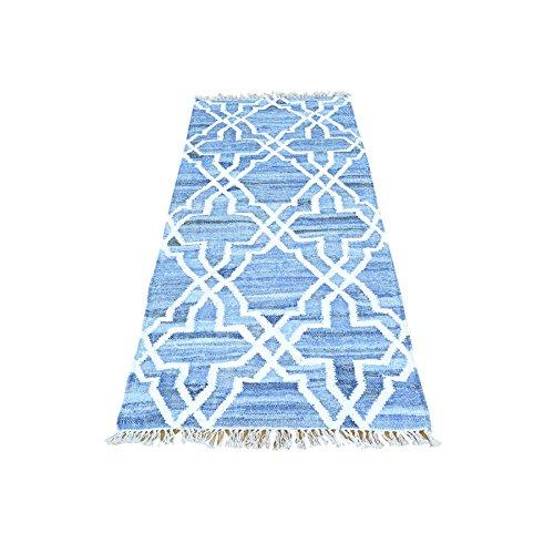 Denim Jeans Kilim Runner Cotton and Sari Silk Hand Woven Rug (2'8