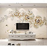 LHDLily 3D Wallpaper Mural Wall Sticker Thickening Custom Large Fresco New Three-Dimensional Luxury Swan Jewelry Flower Backdrop Wall Living Room Decoration 350cmX250cm