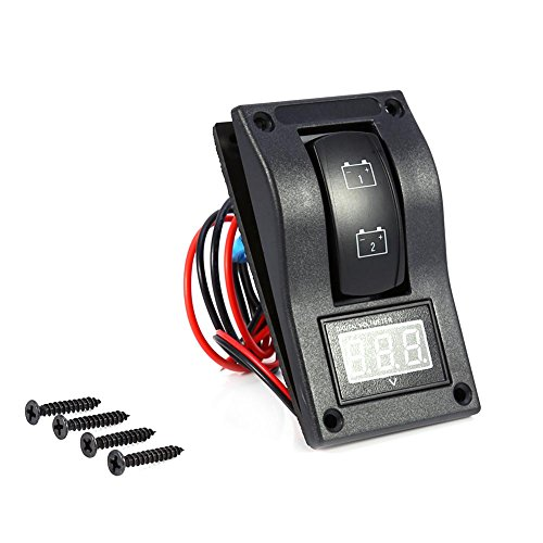 Cuque 12V DC LED Dual Battery Test Panel with Voltmeter Rocker Switch ON-OFF-ON for Marine Boat and Car Auto Automotive