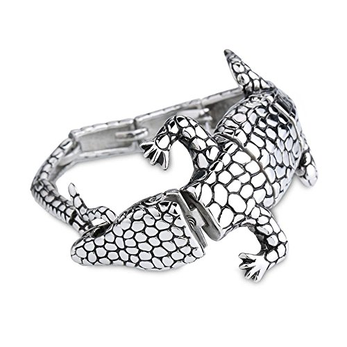 bluebell-mens-jewelry-stainless-steel-lizard-bracelet-vintage-retro-bangle-with-charm-clasp