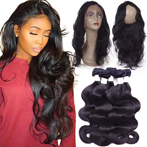 Flady 360 Lace Frontal with Bundles 8a Brazilian Body Wave Virgin Human Hair 3 Bundles with Pre-plucked 360 Lace Band Frontal with Baby Hair (16 18 20 with 14inch 360 frontal) by Flady