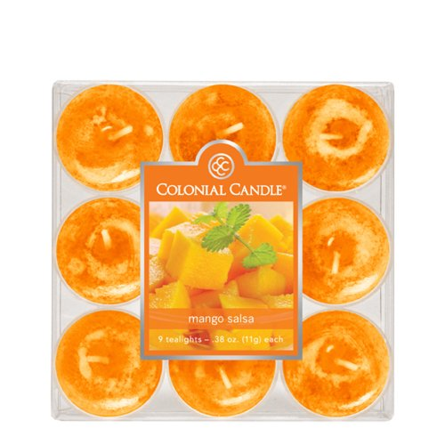 Colonial Tealights Candle (Colonial Candle Mango Salsa Tealights, Set of 9)