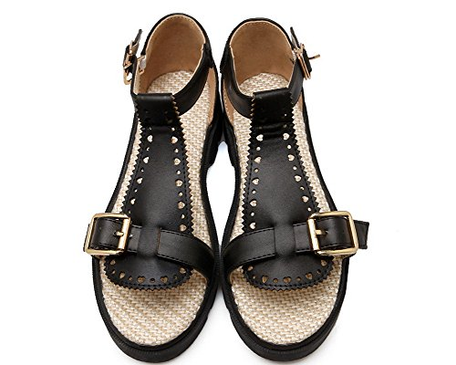 EGHLH006675 Low Open Buckle Sandals Pu Solid Heels Women's Toe Black WeiPoot fwz7I7