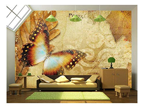 - wall26 - Vintage Autumn Card with Leaves and Butterfly - Removable Wall Mural | Self-Adhesive Large Wallpaper - 100x144 inches