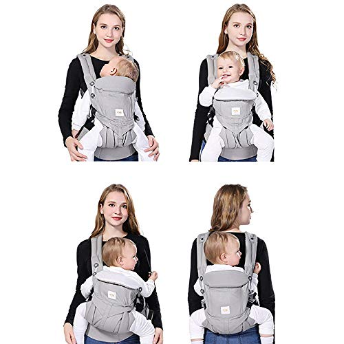 SpringBuds 360 All Carry Positions Ergonomic Baby Carrier All Season Baby Sling Gray