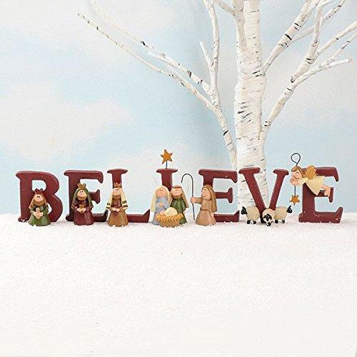 B-E-L-I-E-V-E Nativity Resin Christmas Decoration Set of 7 Letters - Size 1.75 in Tall (Cards Dog Nativity Christmas)