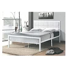 Double Full Size White Metal Frame with Leatherette Padded Headboard Bed