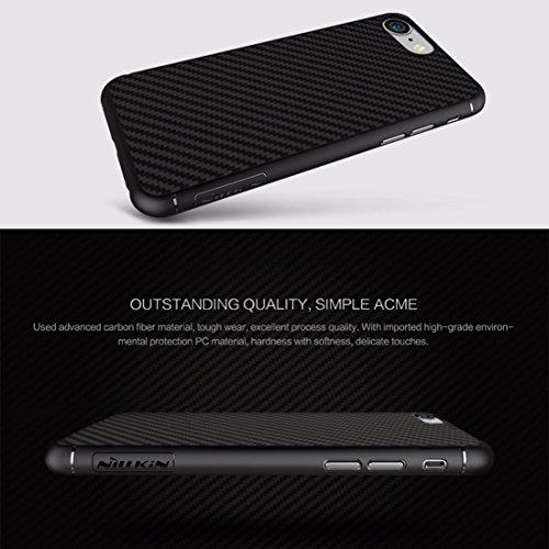 iPhone Case Cover NILLKIN pour iPhone 7 Légère texture artisanale en fibre de carbone PP étui de protection arrière avec feuille cachée de fer à repasser