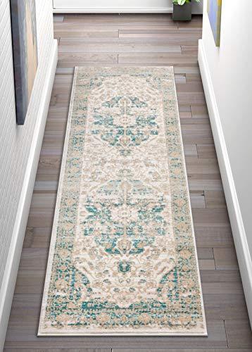 Well Woven Millie Tribal Blue Medallion 3x12 (2'7'' x 9'10'' Runner) Area Rug Mint Blue & Gold Modern Distressed Oriental Carpet ()