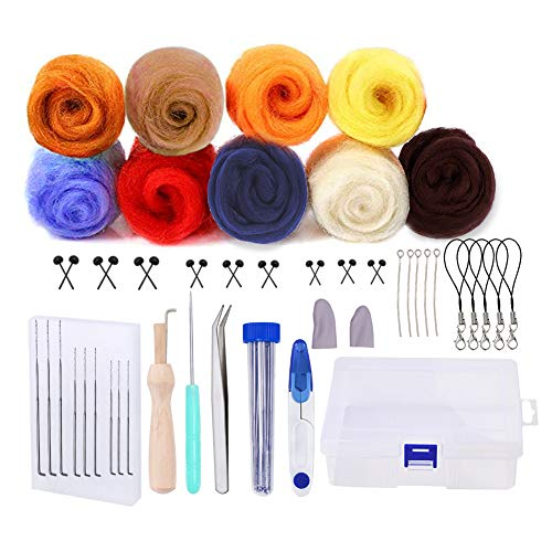 Wool Felt Tools, Needle Felting Starter Kit with 9 Colors Wool Roving for Felting Wool Basic Kit Needle Hand Spinning DIY Craft Making Ideal Beginners Gift