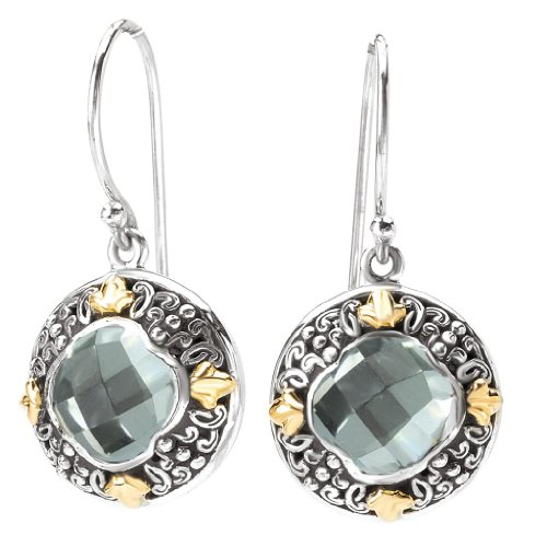 925 Silver & Green Amethyst Ornate Scroll Earrings with 18k Gold Accents