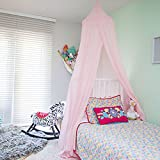 Zeke and Zoey Hanging Princess Bed Canopy, Drapes - Hideaway Tent Canopies for Girls, Kids Rooms, Cribs, Nursery Decoration- Pink, Sheer, Long, Flowing - For Play, Sleep, Reading