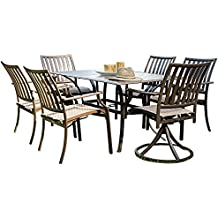 Panama Jack Outdoor Island Breeze 7-Piece Slatted Dining Group Set, Includes 4 Armchairs, 2 Swivel Chairs and 36 by 60-Inch Rectangular Aluminum Slatted Table
