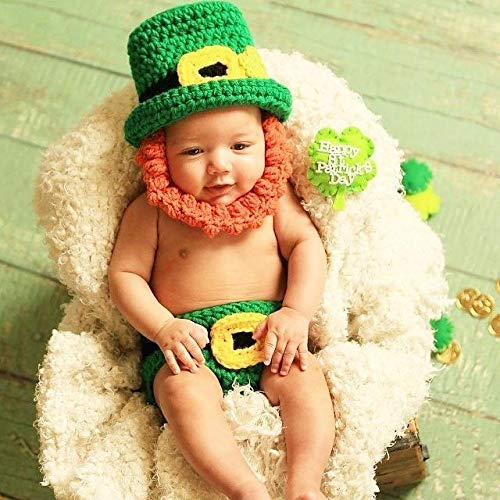 Crochet Baby St. Patrick's Day Leprechaun Hat Beanie Beard Diaper Cover Set Infant Newborn Baby Toddler Photography Photo Prop Handmade Baby Shower Gift Present -