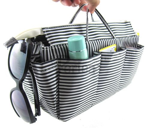 Chrissy Stripes Large and Key Handbag Organiser Black Clip Free 13 Black and White Stripes Compartments Periea White qEH7wnUaxw