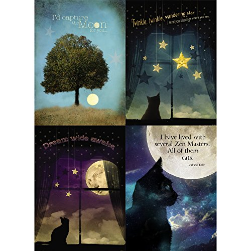 Tree-Free Greetings Moon and Stars Friendship Card Assortment, 5 x 7 Inches, 8 Cards and Envelopes per Set (GA31497)