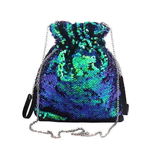 FENICAL - Bolso mochila para mujer Verde y negro 25x24x8cm