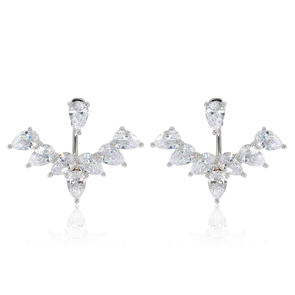 Marquise & Round Brilliant Cubic Zirconia Floral Front Back Jacket Earrings Plated in White Gold by Lemon Grass