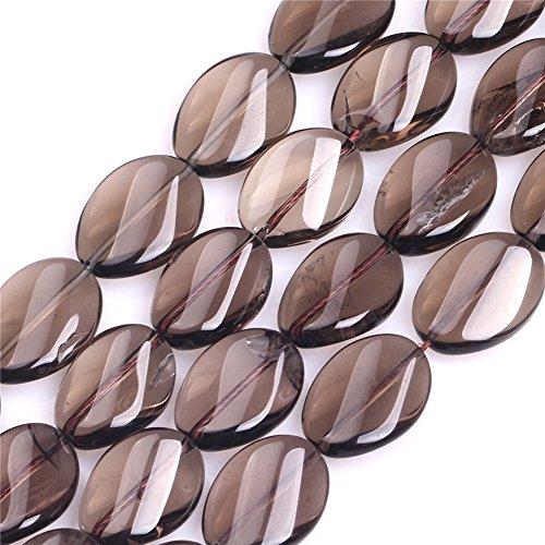 Joe Foreman Smoky Quartz Beads for Jewelry Making Natural Semi Precious Gemstone 15x20mm Twist Strand 15