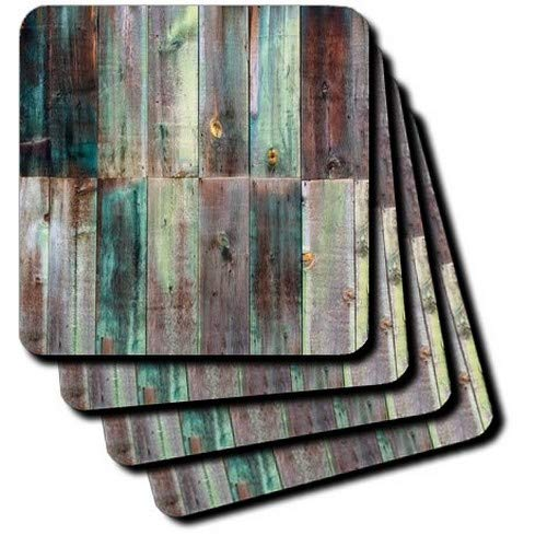 3dRose Photograph of Turquoise and Brown Distressed Wood-Ceramic Tile Coasters, Set of 4 (CST_213532_3) (Ceramic Tiles Turquoise)
