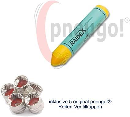 1 X Reifenkreide Gelb Sisa Durchmesser 17 5mm Länge Ca 9 3cm Inkl 5 Ventilkappen Auto