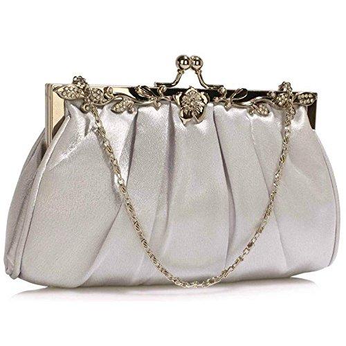 Bolso de embrague para mujer, diseño cristal Silver Crystal Clutch