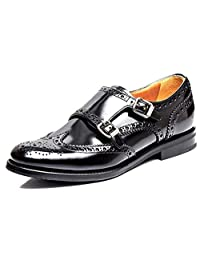 Women's Leather Low-heel Full-brogue Casual Monk-strap Walking Shoes 4.5-7.5
