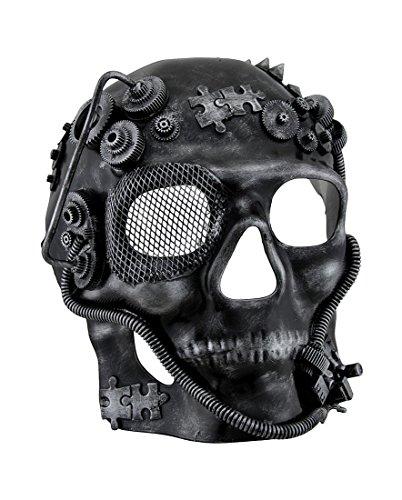 Metallic Steampunk Skull Full Face Masquerade Mask (Victorian Face Masks)