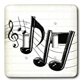3dRose LLC lsp_4105_2 Music Notes, Double Toggle Switch