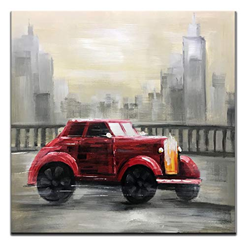 Boiee Art,32x32inch Hand-Painted Classic Red Vintage Car Oil Paintings Buildings Cityscape Wall Art on Canvas Contemporary Artwork Modern Home Decor Art Wood Inside Framed Ready to Hang for Bedroom