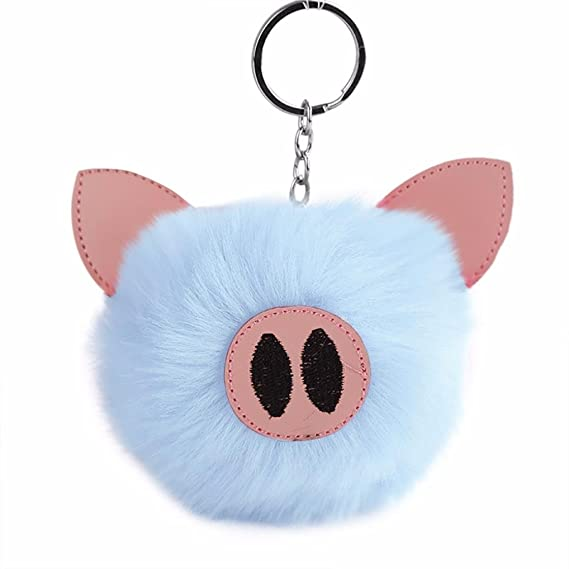 Amazon.com  Pig Pom Pom Keychain for Women f490c88c9