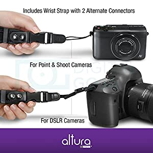 Camera Hand Strap - Rapid Fire Heavy Duty Safety Wrist Strap by Altura Photo w/2 Alternate Connections for Use w/Large DSLR or Point & Shoot Cameras (2016 Update)