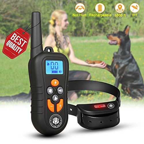 Dog Training Collar,Shock Bark Training Collar with NO Hurt and Rechargeable and IP7 Level Waterproof with 1800FT Remote Beep/vibration/Shock Electronic Collar Modes for Small Medium Large (Dog Training Shock Collar)