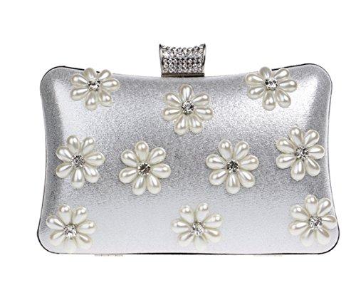 - Women Clutch Bag Purse Evening Handbag Glitter Diamante Pearl Shoulder Bag For Bridal Wedding Party Prom Clubs Ladies Gift,Silver-20125cm