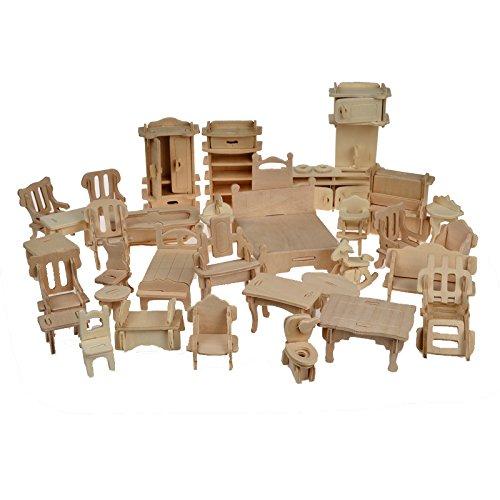1SET=34PCS Wooden Dollhouse Furnitures 3D Puzzle Scale Miniature Models Doll House DIY Accessories