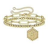 IEFWELL Initial Bracelet for Women Girl, 14K Gold