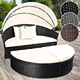Miadomodo Poly Rattan Garden Day Bed | Width: 180 cm, Canopy, Seat Cushions, Colour of Choice | Sun Isle Lounger, Garden Outdoor Furniture (Black)