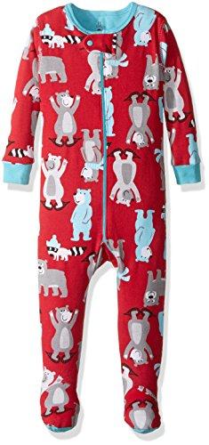 Petit Lem Boys' Footed Pajamas, Winter Bear, 12M