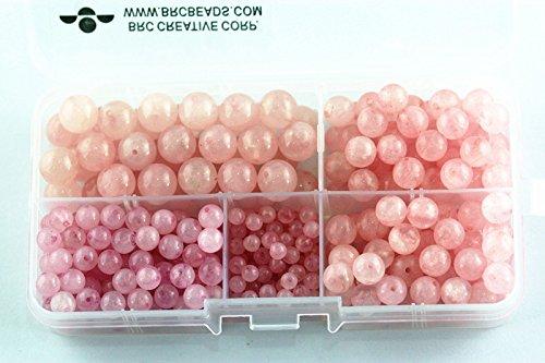 BRCbeads Rose Quartz Natural Gemstone Loose Beads Round Value Box Set 340pcs Per Box for Jewelry Making (Plastic Container is (Quartz Bead Sets)