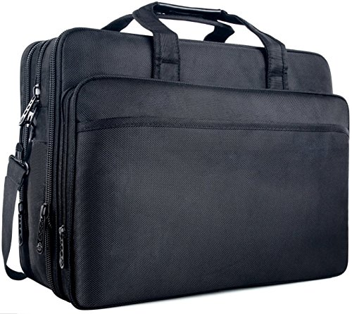 Briefcase bag, 17' Business Laptop Shoulder Bag,Nylon Hybrid 2-in-1 Messenger Bag Computer Bags for MacBook Pro / Notebook / ASUS / Acer / HP / Dell Alienware / Lenovo / Tablet - Black