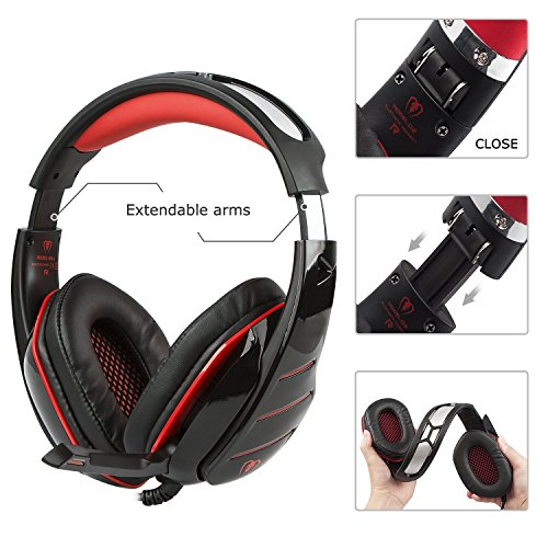 PS4 Headset, PS4 Headphones, PC Gaming Headset with LED light, Over-ear Professinal Gaming Headphones with Mic 3.5mm, Christmas Gifts, Noise Reduction Bass Headsets for PC, Laptops, Tablets. by IMMOSO (Image #2)