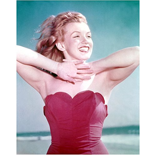 Marilyn Monroe Holding Arms Up to Neck on Beach All Smiles 8 x 10 Inch Photo