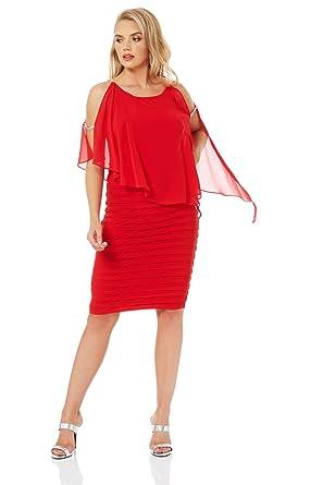 502a7c3c9ce Roman Originals Women Diamante Trim Layer Little Black Dress - Ladies  Chiffon Overlay Top Elegant Pleated Asymmetrical Classic Special Occasion  Christmas ...