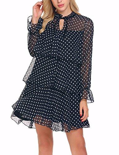 ELESOL Women Flare Cuff A Line Tiered Polka Dot Chiffon Summer Beach Dress (Dot Tiered Polka)