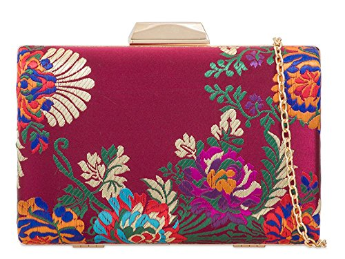 Embroidery Ladies Bag Compact Hard Satin Bridal Clutch Prom Floral Burgundy UFt6rnqxF