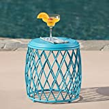 Alameda Outdoor 15 Inch Lattice Iron Side Table (Matte Blue)