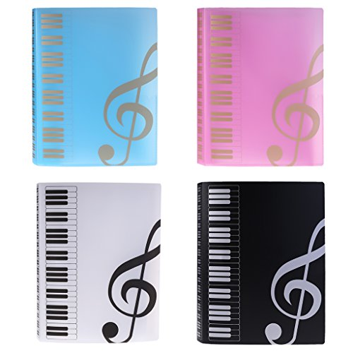 Folder Fasteners Pockets Tabs Inserts - YHSUN 80 Sheets A4 Music Book Folders Piano Score Band Choral Insert-Type Folder (Pink)