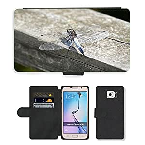Super Stella Cell Phone Card Slot PU Leather Wallet Case // M00104009 Dragonfly Insect Wings Wildlife // Samsung Galaxy S6 (Not Fits S6 EDGE)